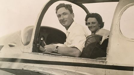 Ronald Buxton and his wife, Phyllida, in a Miles Gemini, on their honeymoon in the summer of 1959, w