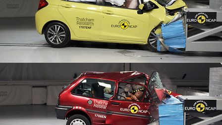The 20th anniversary crash test between the old Rover 100, bottom, and modern Honda Jazz. Picture: T