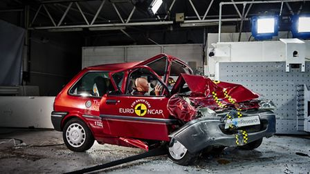 The old Rover 100 after the EuroNCAP crash test. Picture: Thatcham Research