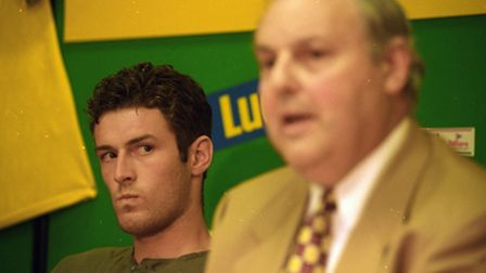 Chris Sutton and then chairman Robert Chase at Carrow Road.