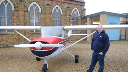 Kevin Crook, from the Mission Aviation Fellowship, with one of its Cessna aircraft at Hunstanton Met