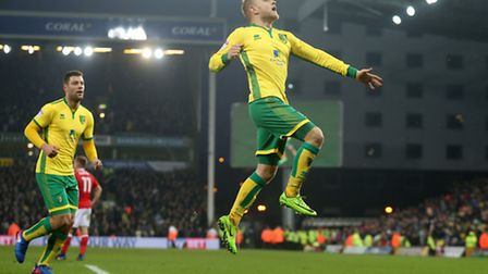 Alex Pritchard scored twice in Norwich City's 5-1 Championship romp over Nottingham Forest. Picture