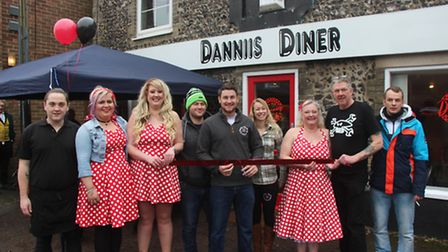Cutting the ribbon to officially open Dannii's Diner. Picture: STUART ANDERSON
