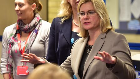 Secretary of State for education, Justine Greening visits City College, Norwich. PHOTO: Nick Butc