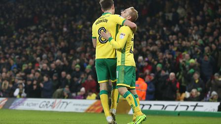 Alex Pritchard and Jonny Howson both had days to remember at Carrow Road on Saturday. Picture: Paul
