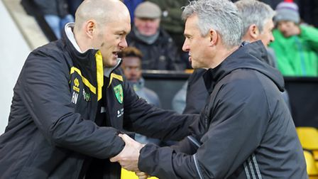 Norwich Manager Alex Neil and Nottingham Forest Interim Manager Gary Brazil before the Sky Bet Champ