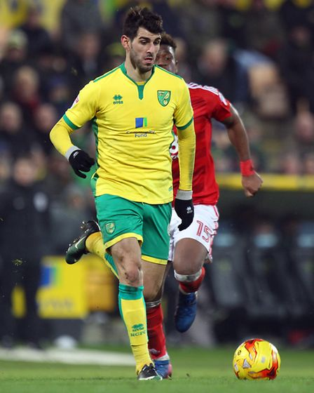 Nelson Oliveira of Norwich in action during the Sky Bet Championship match at Carrow Road, NorwichP
