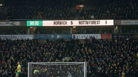 The scoreboard makes for happy reading during the Sky Bet Championship match at Carrow Road, Norwich