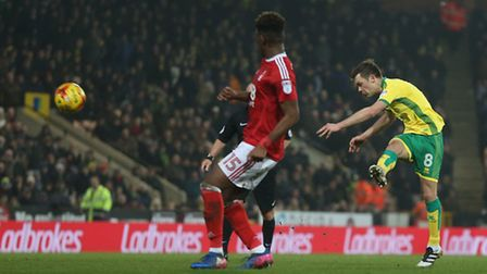 Jonny Howson of Norwich has a shot on goal during the Sky Bet Championship match at Carrow Road, Nor