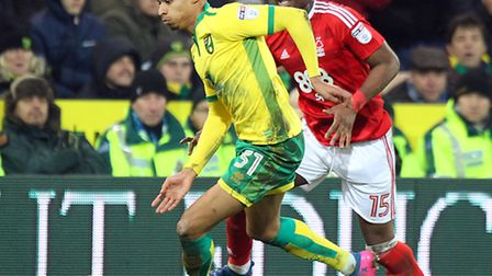 Josh Murphy of Norwich and Aaron Tshibola of Nottingham Forest in action during the Sky Bet Champion