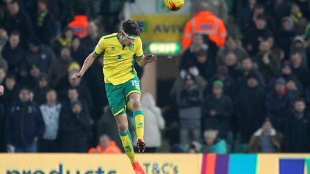 Timm Klose of Norwich heads clear during the Sky Bet Championship match at Carrow Road, NorwichPict
