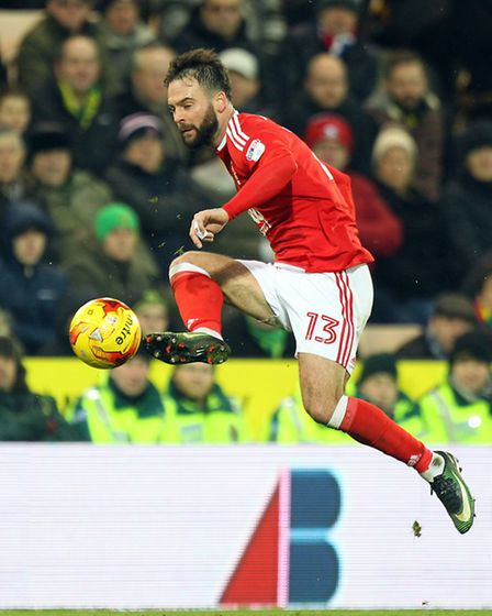 Danny Fox of Nottingham Forest in action during the Sky Bet Championship match at Carrow Road, Norwi