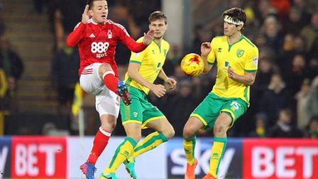 Ross McCormack of Nottingham Forest and Timm Klose of Norwich in action during the Sky Bet Champions