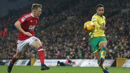 Josh Murphy of Norwich crosses the ball during the Sky Bet Championship match at Carrow Road, Norwic