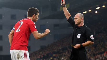 Eric Lichaj of Nottingham Forest is sent off by Referee Scott Duncan during the Sky Bet Championship