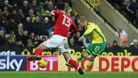 Alex Pritchard of Norwich scores his sides 4th goal during the Sky Bet Championship match at Carrow