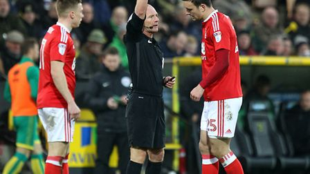 Jack Hobbs of Nottingham Forest gets a yellow card from Referee Scott Duncan during the Sky Bet Cham