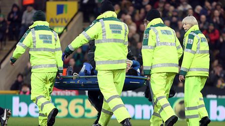 Stephen Henderson of Nottingham Forest leaves the match on a stretcher after was injured during Norw