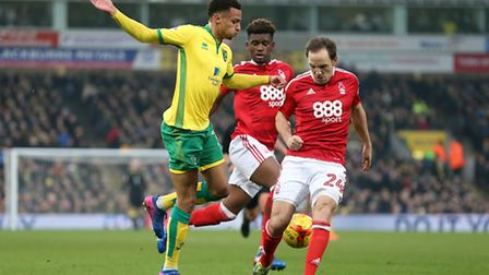Josh Murphy of Norwich and David Vaughan of Nottingham Forest in action during the Sky Bet Champions