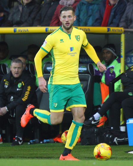 Mitchell Dijks of Norwich in action during the Sky Bet Championship match at Carrow Road, NorwichPi