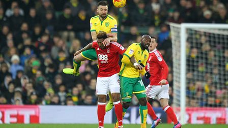 Russell Martin of Norwich wins a header during the Sky Bet Championship match at Carrow Road, Norwic