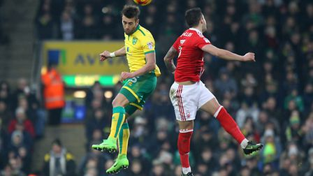 Ivo Pinto of Norwich wins a header during the Sky Bet Championship match at Carrow Road, NorwichPic