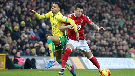 Daniel Pinillos of Nottingham Forest and Josh Murphy of Norwich in action during the Sky Bet Champio