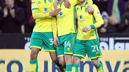 Wes Hoolahan of Norwich celebrates scoring his sides 3rd goal during the Sky Bet Championship match