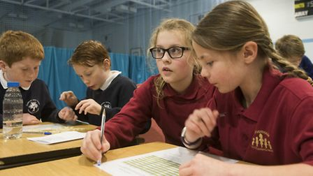 Year 5 pupils from across the region take part in a Maths Challenge at Langley Prep school. PHOTO: N