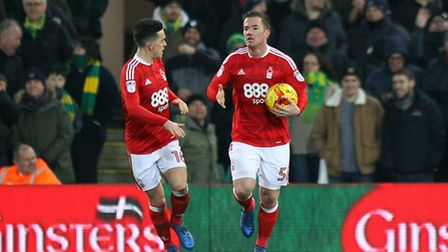 Ross McCormack celebrates scoring Nottingham Forest's consolation at Carrow Road. Picture: Paul Ches