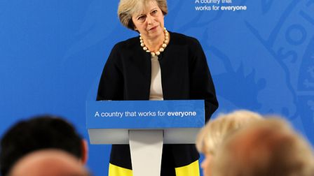 Prime Minister Theresa May delivers a speech at the British Academy in London, where she said that a