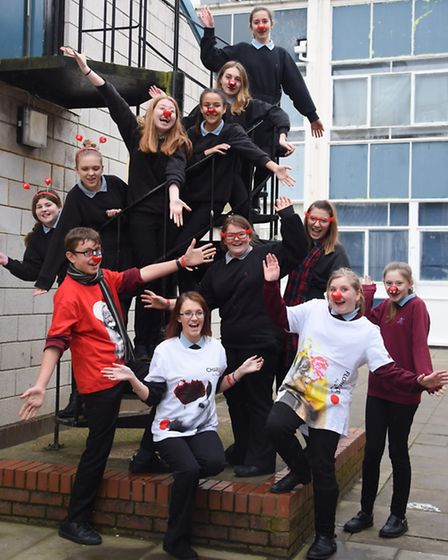 Members of the Sprowston High School Charity Committee ready for their Comic Relief fundraising. Pic