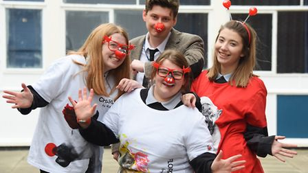 Three of the members of the Sprowston High School Charity Committee ready for their Comic Relief fun