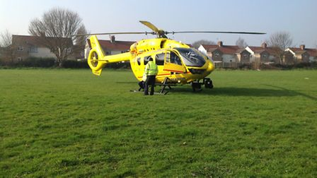 The East Anglian Air Ambulance helicopter landed in Gorleston following emergency at New College Clo