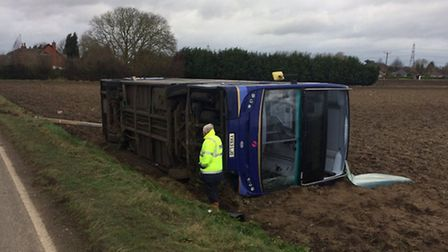 Double decker bus blown over in Walton Highway. Picture: Norfolk & Suffolk's Roads Policing