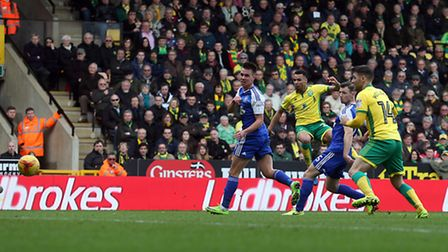 Jacob Murphy earned Norwich City a point with a thumping low hit. Picture: Paul Chesterton/Focus Ima