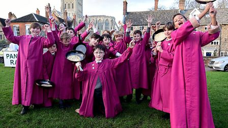 Norwich Cathedral choristers enjoy annual pancake races. Picture: ANTONY KELLY