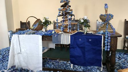 Some of the knitted and crocheted forget-me-nots. Picture: DIANNE FERNEE