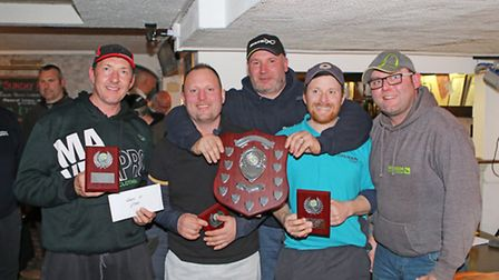Wensum Valley Tackle League overall winners Cillit Bang, from left, Glen Mason, Lee carver and Scott