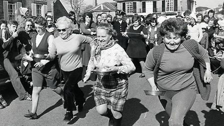 On your marks: the grandmothers' pancake race at South Green, Southwold, on March, 2, 1976. Photo fr