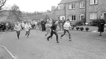 Weybourne ladies pancake race. Taken in February 1984. Photo from Archant Library.