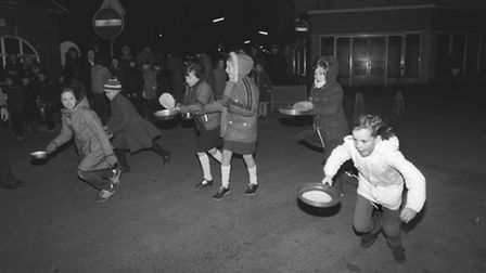 Children have fun at the Sheringham pancake race on the 15th of February 1983. Photo from Archant L
