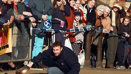 BROADLAND PRESENTER ROB CHANDLER IN THE PANCAKE RACE. Picture Adrian Judd.