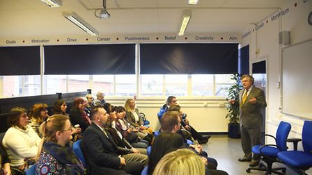 The Portuguese Ambassador Manuel Lobo Antunes speaking at The Charles Burrell Centre in Thetford. Pi