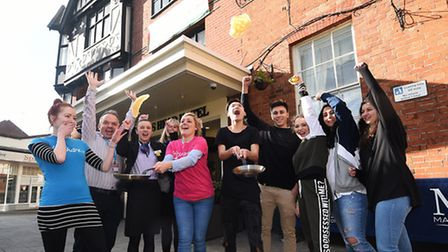 Italian exchange students, with the English Experience School, visit the Maids Head Hotel and take p