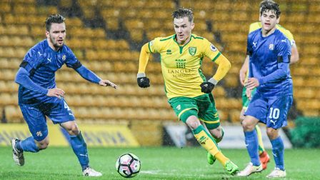James Maddison in action for Norwich City U23s against Dinamo Zagreb at Carrow Road on Monday night.