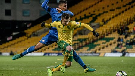 James Maddison of Norwich City U23 is fouled for the penalty versus Dinamo Zagreb U23 during the Pre