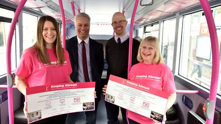 First Bus Eastern Counties launch their support for Keeping Abreast with information advertising on