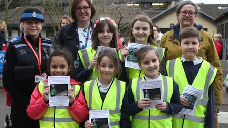 School council members with Sheringham Primary head teachers Sue Brady and Rachael Carter and PCSO R