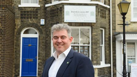 Brandon Lewis MP outside his constituency office. Picture: James Bass